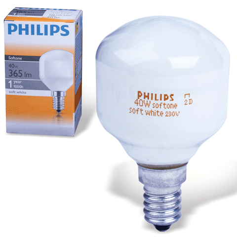 Лампа накаливания PHILIPS Softone T45 60W E14 Soft White (миньон) Т-образная мини, белая